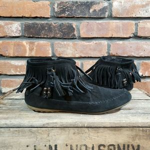 Minnetonka Suede Fringe Ankle Booties Moccasins